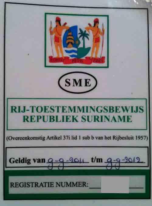 Rijbevoegdheid-Suriname